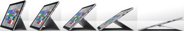 A nova dobradiça do Surface Pro 3 permite o uso da tela em um número enorme de posições.